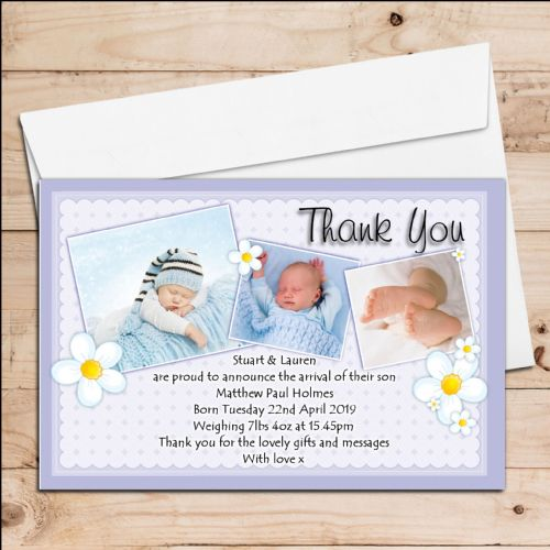 10 Personalised New Baby Boy Birth Announcement Thank You PHOTO cards N71